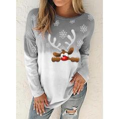 Dyr Gradient rund hals Lange ærmer Jule sweatshirt