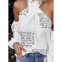 Nadruk Odkryte ramię Długie rękawy Seksowny Bluzki