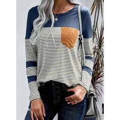 Color Block Striped Round Neck Long Sleeves T-shirts