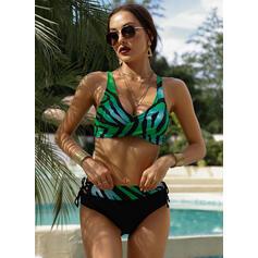 Talie Înaltă Imprimeu Curea Decolteu în V Sexy Retro Büyük beden Bikini Mayolar
