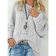 Jednolity Masywna dzianina Na jedno ramię Swetry