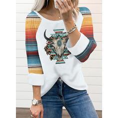 Trozos de color Impresión Animal Cuello Redondo Manga Larga Camisetas