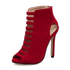 Women's Suede Stiletto Heel Sandals Pumps Boots Peep Toe Ankle Boots With Zipper shoes