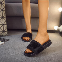 Vrouwen Stof Flat Heel Slippers met Bont schoenen