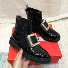 Women's Microfiber Leather Low Heel Martin Boots With Imitation Pearl shoes