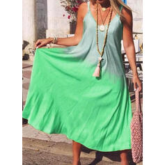 Print Sleeveless Shift Casual/Vacation Midi Dresses