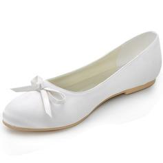 Frauen Seide wie Satin Flascher Absatz Geschlossene Zehe Flache Schuhe mit Des Bowknot