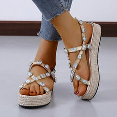 Kvinner Lær Kile Hæl Sandaler Platform Titte Tå Slingbacks Tøfler med Rhinestone sko