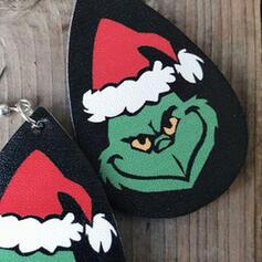 Forma de gota Navidad Grinch PU De mujer Pendientes 2 piezas
