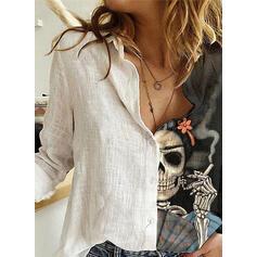 baskı klapa Uzun kollu Düğmesiz Yakalı Günlük Gömlekler