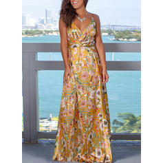 Print/Floral Sleeveless A-line Vacation Maxi Dresses