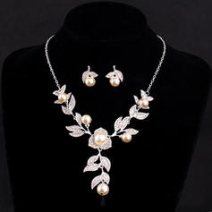 Fashional Alloy Rhinestones With Imitation Pearl Rhinestone Ladies' Jewelry Sets