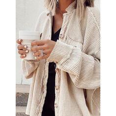 Knit Длинные рукова твердый Пальто с широкой талией