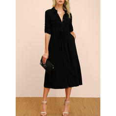 Solid Long Sleeves A-line Little Black/Casual Midi Dresses