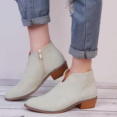 Mulheres PU Salto baixo Botas com Zíper sapatos