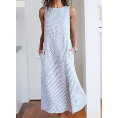Pruhované Bezrukávů Splývavé Midi Neformální Šaty