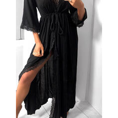 Lace/Solid 3/4 Sleeves A-line Skater Little Black/Casual/Vacation Maxi Dresses