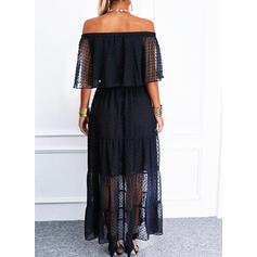 Solid 1/2 Sleeves/Flare Sleeves A-line Skater Little Black/Elegant Maxi Dresses