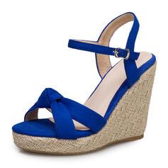 Bayanlar PU Sivri topuk Sandalet Takozlar Peep Toe Ile Toka ayakkabı