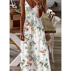 Print/Floral/Animal Print Sleeveless A-line Slip/Skater Casual/Vacation Maxi Dresses