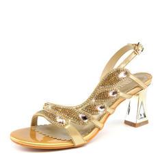 Women's Sparkling Glitter Low Heel Peep Toe Sandals Slingbacks With Crystal