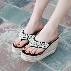 Vrouwen PU Wedge Heel Sandalen Wedges Peep Toe met Imitatie Parel schoenen
