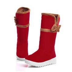 Femmes Suède Talon plat Bottes avec Bowknot chaussures