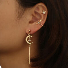 Exotic Boho Alloy With Tassels Moon Earrings (Set of 3)