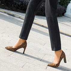 Women's Suede Chunky Heel Pumps Pointed Toe With Animal Print shoes