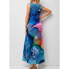 Impresión Sin mangas Vestidos sueltos Casual Maxi Vestidos