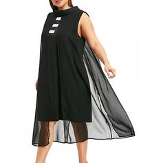 Solid Sleeveless Sheath Above Knee Little Black/Casual/Plus Size Dresses