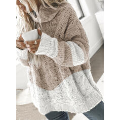 Color Block Cable-knit Turtleneck Casual Sweaters