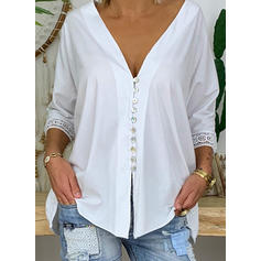 Solid Lace V Neck 3/4 Sleeves Button Up Casual Blouses