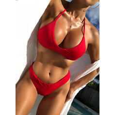 Solid Color String Halter Sexy Bikinis Swimsuits