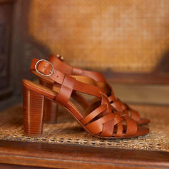 Women's PU Chunky Heel Sandals With Hollow-out shoes