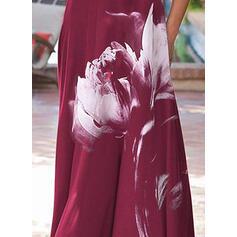 Δαντέλα/Εκτύπωση Κοντά Μανίκια Αμάνικο Καθημερινό/Κομψό Μάξι Сукні