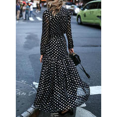 PolkaDot Long Sleeves A-line Casual/Elegant/Vacation Maxi Dresses