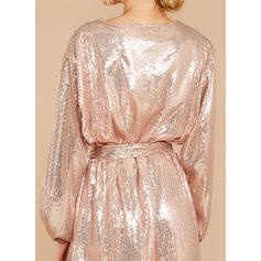Sequins Long Sleeves A-line Above Knee Party Dresses