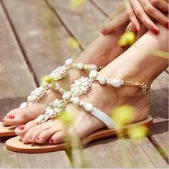 Femmes Similicuir Talon plat Sandales Chaussures de mariage pour la plage avec Perle d'imitation Strass