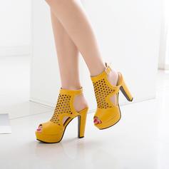 Frauen PU Stämmiger Absatz Sandalen Absatzschuhe Plateauschuh Peep Toe Slingpumps Schuhe