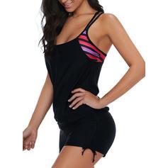 Stripe Splice color Strap Sexy Tankinis Swimsuits