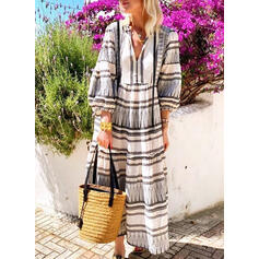 Print/Striped 3/4 Sleeves Shift Casual/Vacation Maxi Dresses