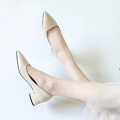 Women's Leatherette Chunky Heel Pumps Closed Toe With Others Braided Strap Split Joint Elastic Band shoes
