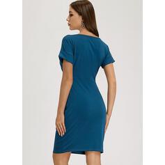 Solid Short Sleeves Sheath Knee Length Casual/Elegant Dresses