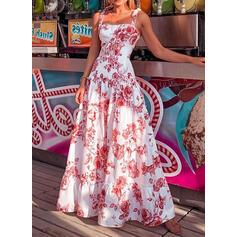 Impresión/Floral Sin mangas Acampanado Casual/Vacaciones Maxi Vestidos