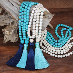 Beautiful Fashionable Exotic Wooden Beads With Tassels Women's Necklaces