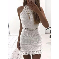 Lace/Solid Sleeveless Bodycon Above Knee Casual Dresses