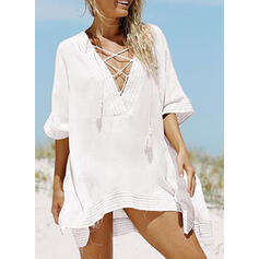 Solid Color V-Neck Beautiful Attractive Cover-ups Swimsuits