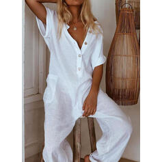 Solid V-Neck Short Sleeves Vacation Jumpsuit