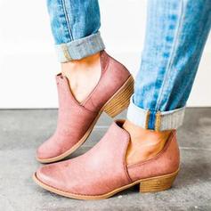 Donna Camoscio Tacco spesso Stivali alla caviglia scarpe